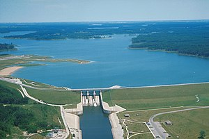 Kaskaskia River - Shelbyville Lake and Dam on the Kaskaskia River at Shelbyville, Illinois