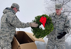 United States Air Force Academy Cemetery - Two 10 CS members volunteer laying wreaths on graves