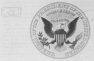 Byron McCandless - Presidential seal print, with annotations by McCandless, used during the 1916 flag discussions with President Wilson