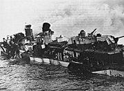 USS Hazelwood (DD-531) after Kamikaze hit 1945