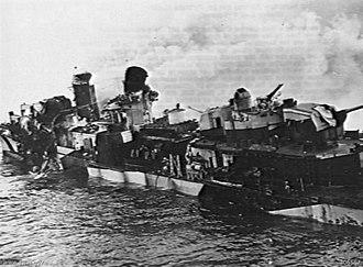 USS Hazelwood (DD-531) - Hazelwood after the Kamikaze hit off Okinawa.