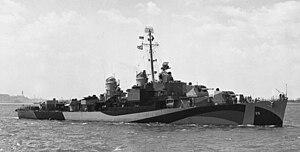 USS Henry A. Wiley (DM-29) underway off Staten Island on 30 August 1944