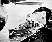 USS James E. Kyes (DD-787) refueling from Midway (CVA-41) c1958