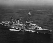 USS Pensacola (CA-24) underway at sea in September 1935 (NH 97838).jpg