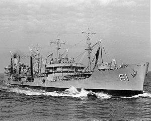 USS Severn (AO-61) underway in the Atlantic Ocean, in February 1972 (NH 99493).jpg