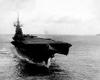 USS Wasp (CV-18) - Wasp showing August 1945 typhoon damage