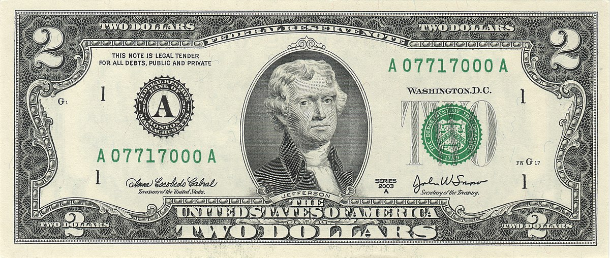 United States Two Dollar Bill Wikipedia