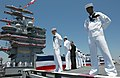 US Navy 030712-N-8148A-503 Sailors stationed aboard the Navy's newest aircraft carrier, USS Ronald Reagan (CVN 76) man the rails during the commissioning ceremony.jpg