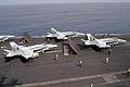 US Navy 030914-N-2009B-028 F-A 18C Hornets from the Argonauts of Strike Fighter Squadron One Four Seven (VFA-147) are positioned for launch.jpg