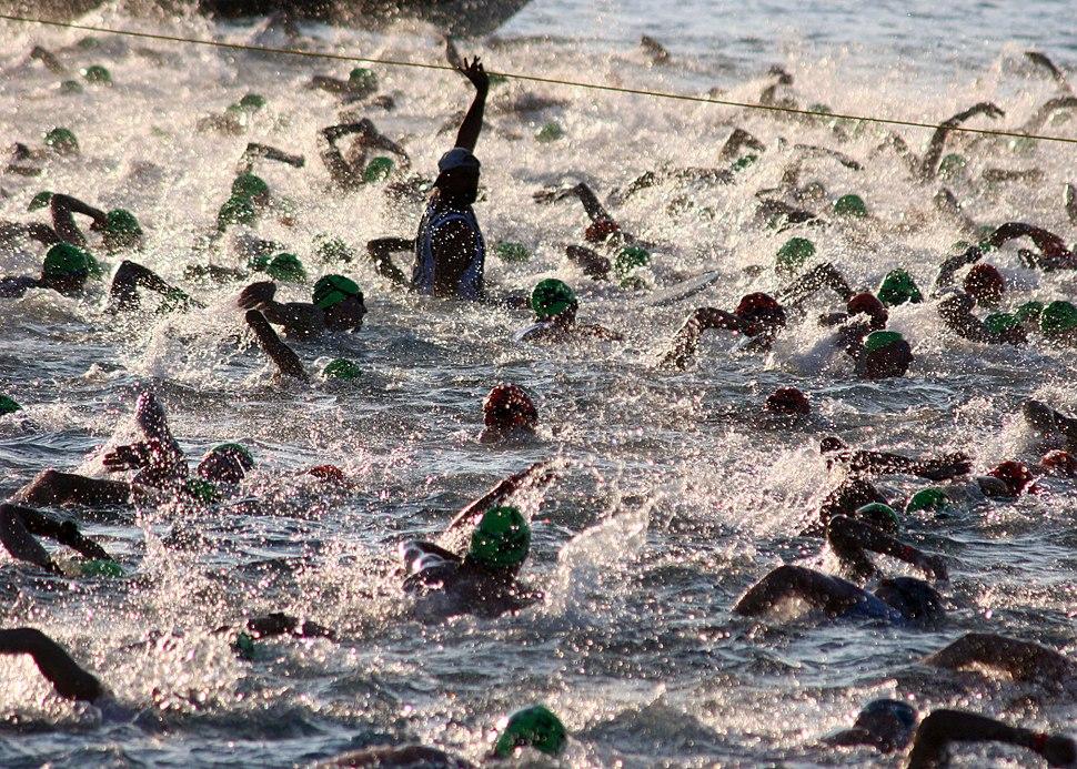 US Navy 051015-N-9419C-004 Almost 2,000 triathletes begin the 2.4-mile swim at the Ironman World Championship triathlon, held in Kailua-Kona, Hawaii