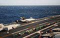 US Navy 060112-N-5549O-170 Cmdr. Gregory Harris launches from the flight deck aboard the Nimitz-class aircraft carrier USS Ronald Reagan (CVN 76) in an F-A-18E Super Hornet.jpg