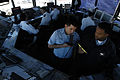 US Navy 070321-N-2565P-001 Air Traffic Controller 3rd Class Roberto Meneses conducts ground control training with Air Traffic Controller 2nd Class Bobby Tatum in the Naval Station Rota flight tower.jpg