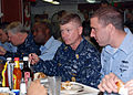 US Navy 081219-N-0803S-014 Chief of Naval Operations (CNO) Gary Roughead and Master Chief Petty Officer of the Navy (MCPON) Rick West have lunch with Sailors.jpg