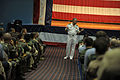 US Navy 090721-N-8273J-214 Chief of Naval Operations (CNO) Adm. Gary Roughead speaks with Sailors and answers questions during an all-hands call at Naval Air Station Corpus Cristi.jpg