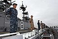 US Navy 110810-N-DX615-085 Sailors and Marines man the rails aboard USS Makin Island (LHD 8).jpg