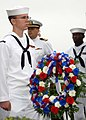US Navy 111012-N-NW885-009 Gas Turbine Systems Technician (Mechanical) 3rd Class Corey Callies presents a wreath at the USS Cole Memorial during a.jpg