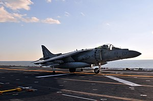 US Navy 120202-N-UM734-897 An AV-8B Harrier assigned to Marine Fighter Squadron (VMA) 231 takes off from the amphibious assault ship USS Kearsarge.jpg