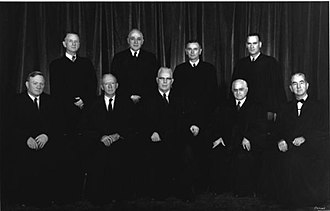 Warren Court - The Supreme Court as it was composed between 1958 and 1962. Top (l-r): Charles E. Whittaker, John M. Harlan, William J. Brennan, Jr., Potter Stewart. Bottom (l-r): William O. Douglas, Hugo L. Black, Earl Warren, Felix Frankfurter, Tom C. Clark.