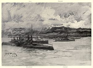 US troopships and convoy at Playa de Ponce, 1898