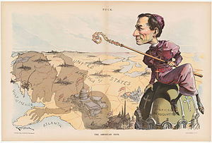 Anti-Catholicism in the United States - An anti-Catholic cartoon shows Archbishop Francesco Satolli in 1894, casting an evil shadow across the country.