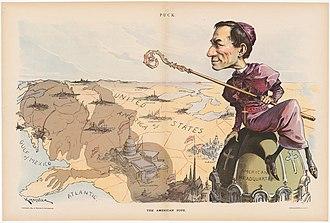 Anti-Catholicism in the United States - An anti-Catholic cartoon shows the pope's nuncio (ambassador) Archbishop Francesco Satolli in 1894, casting his controlling shadow across the U.S.