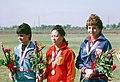 Ulrike Holmwe, Wu Xiauxuan, Wanda R. Jewell, 1984 Summer Olympics.JPEG