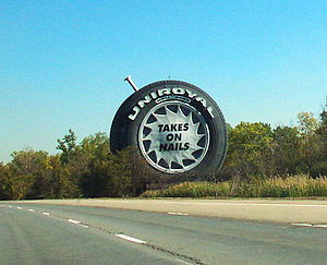 Uniroyal Giant Tire - Along Interstate 94 in Allen Park, Michigan, early 2000s