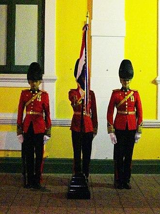 Chulachomklao Royal Military Academy - Regimental colours guard of the Cadet Regiment, King's Guard, CRMA, Royal Thai Army (full dress)