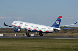 Us airways a330-300 n278ay takeoff manchester arp.jpg