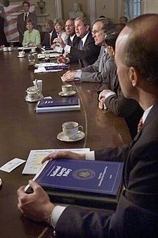 The Cabinet meets in the Cabinet Room on May 16, 2001. Members are seated according to order of precedence.