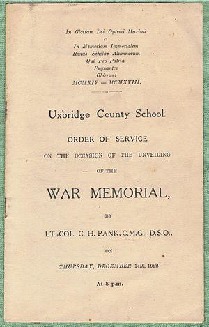 Bishopshalt School - War Memorial unveiling's Order of Service cover, December 14th, 1922.