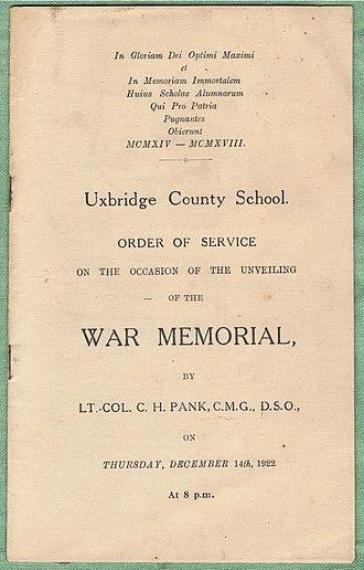 Bishopshalt School - War Memorial unveiling's Order of Service cover, 14 December 1922.
