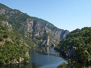 Vacha (river) - River Vacha Gorge at river's entry to Krichim Dam Reservoir