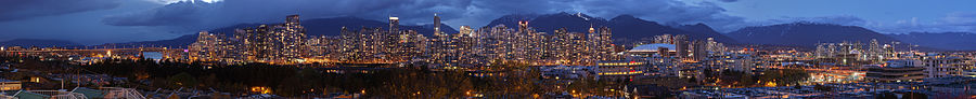 Vancouver, British Columbia, viewed from the south with mountains behind. Blended exposure version. 20 stitched images.