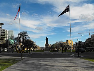 Victoria Square, Adelaide - Victoria Square, 2008, looking south showing Victoria flanked by the two large flagpoles