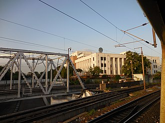 Reserve Bank of India - The Reserve Bank building as seen from the Chennai Suburban Railway lines