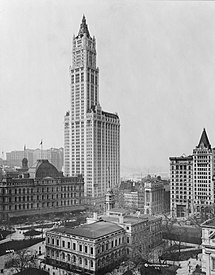 View of the Woolworth Building and surrounding buildings, New York City. (1913)
