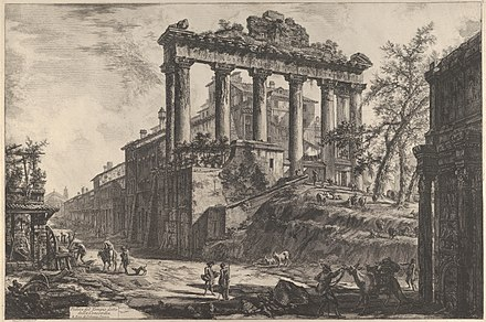 View of the so-called Temple of Concord with the Temple of Saturn, on the right the Arch of Septimius Severus; by Giovanni Battista Piranesi; 1760-1778; etching; size of the entire sheet: 53.8 x 79.2 cm; Metropolitan Museum of Art (New York City) View of the so-called Temple of Concord with the Temple of Saturn, on the right the Arch of Septimius Severus MET DP837542.jpg