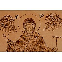 Virgin Mary Greek Orthodox Pyrography 05