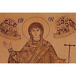 Virgin Mary Greek Orthodox Pyrography 05