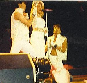 """The Virgin Tour - Madonna closing the concert with a performance of """"Material Girl""""."""