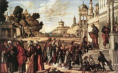 Vittore carpaccio, Saint Stephen is Consecrated Deacon 01.jpg