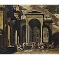 Viviano Codazzi and Domenico Gargiulo (Attr.) - Capriccio of the exterior of an elaborate palace with St Peter healing the lame.jpg