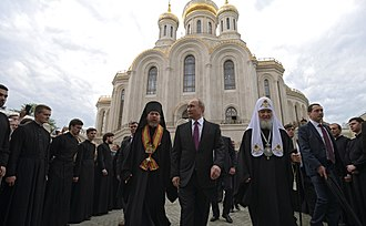 Sretensky Monastery (Moscow) - President Putin, Patriarch Kirill of Moscow and Tikhon Shevkunov at the consecration of the new temple in May 2017