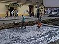 Vodičkova, rekonstrukce tramvajové trati, koberec.jpg