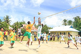 Taliabu Island Regency - Seen some students are playing Volleyball in the school