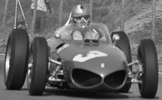 "Ferrari 156 F1 - Wolfgang von Trips driving the 156 at the 1961 Dutch Grand Prix, showing the car's distinctive ""sharknose"""