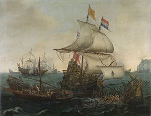 Hendrick Cornelisz Vroom's painting of Dutch Ships Ramming Spanish Galleys in the battle