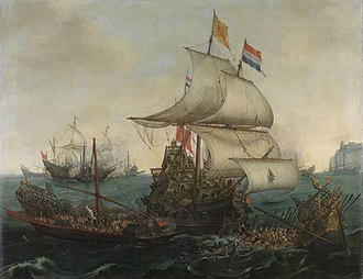 Flag of the Netherlands - Dutch ships ramming Spanish galleys off the English coast, 3 October 1602 (Hendrick Cornelisz Vroom 1617)