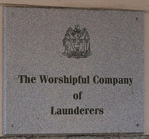 Worshipful Company of Launderers - Image: W C o L Plaque